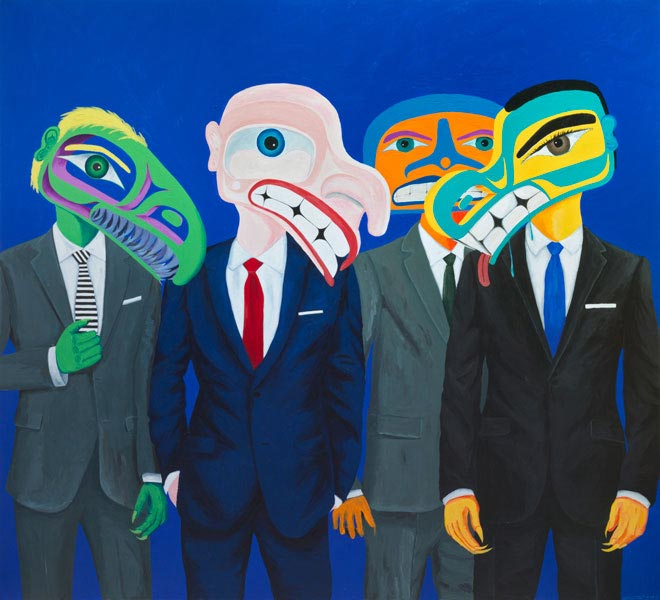 Lawrence Paul Yuxwelupton, Multi-National Conglomerates Hostile Take Over of the New World Order, 2017, acrylic on canvas, courtesy of the artist and Macaulay & Co. Fine Art